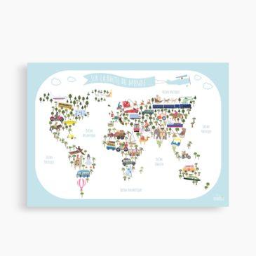 """La carte """" Sur la route du monde…"""" XXL (50-70 cm)"""