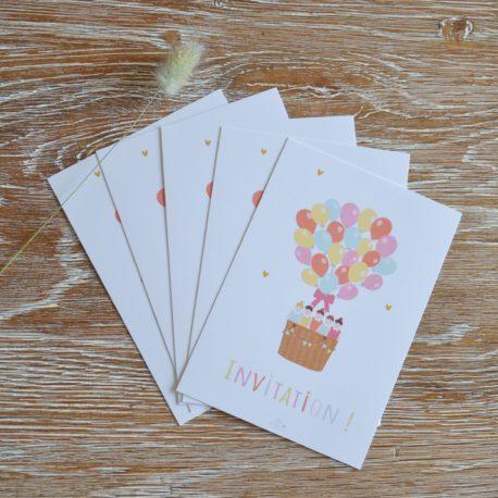 lot de 5 invitations -mixte